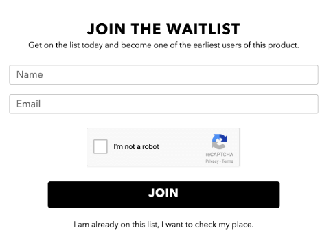 Use waitlist signup forms to test your product idea before launch